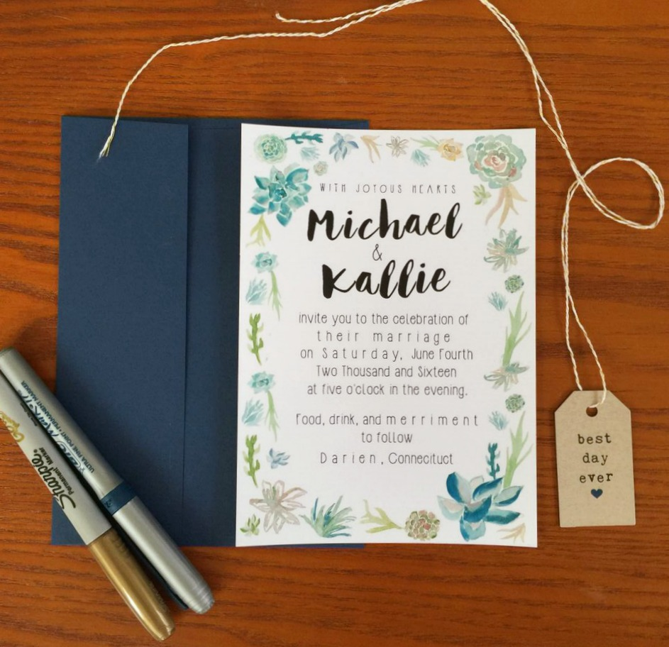 succulent wedding invitation - But First, Coffee Wedding