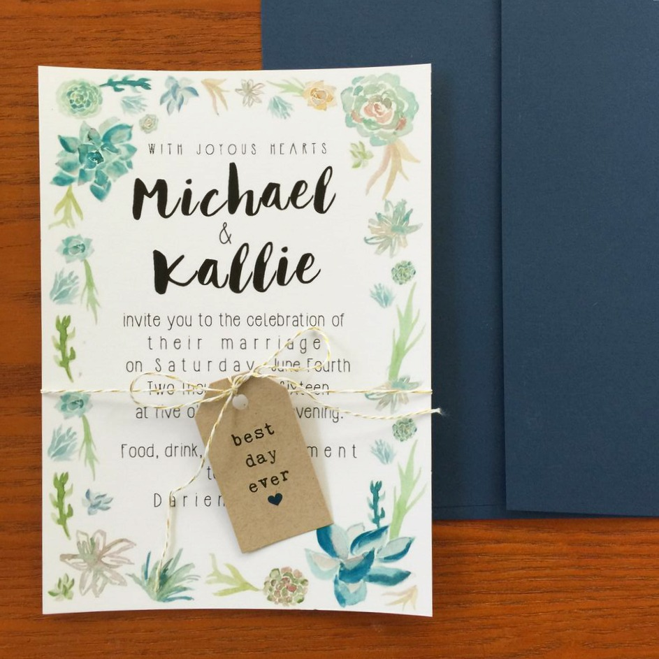 succulent invitation under $120 - But First, Coffee Wedding