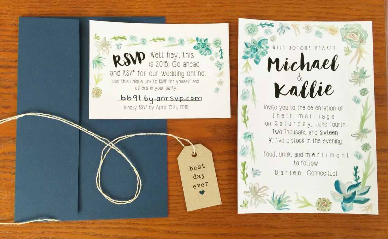succulent wedding invitation under $120- But First, Coffee Wedding