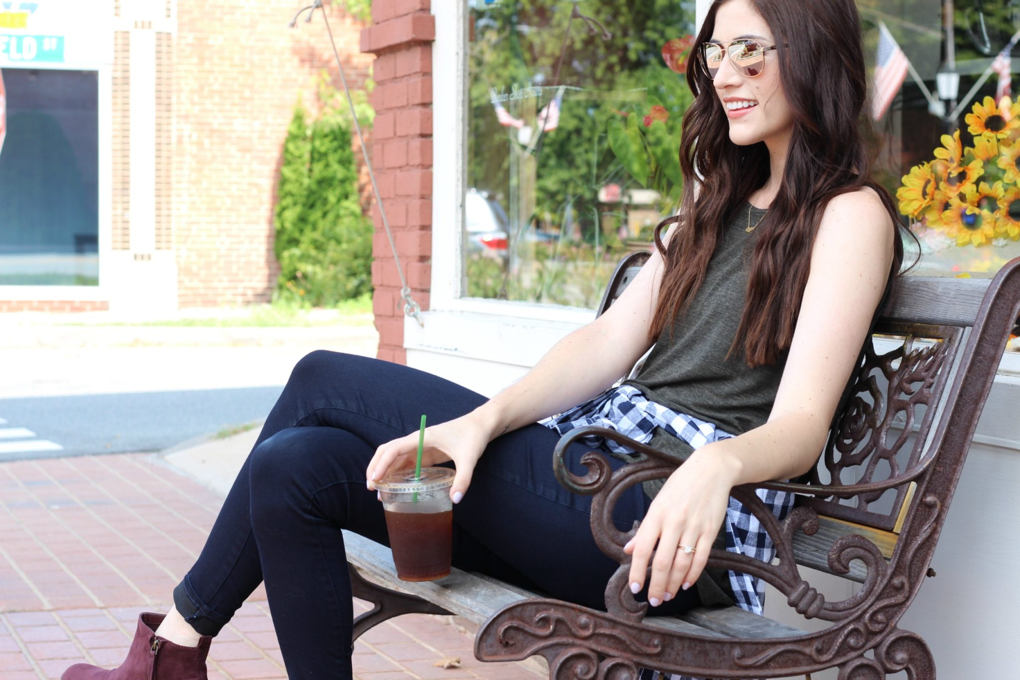 Fall outfit inspiration | plaid and oxblood booties