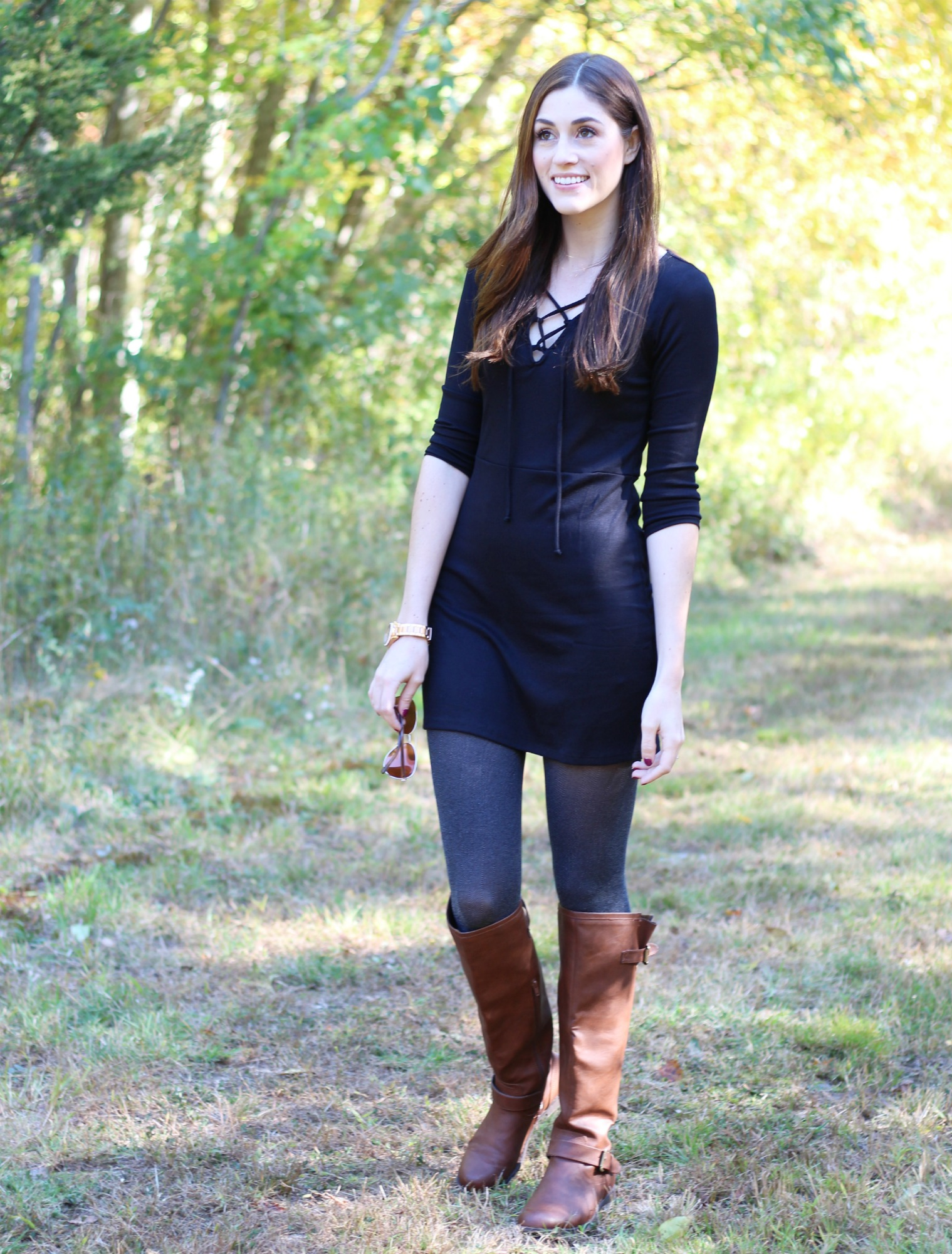 Fall Style Ribbed Lace Up Dress | Brown Tall Boots | Grey Tights Outfits