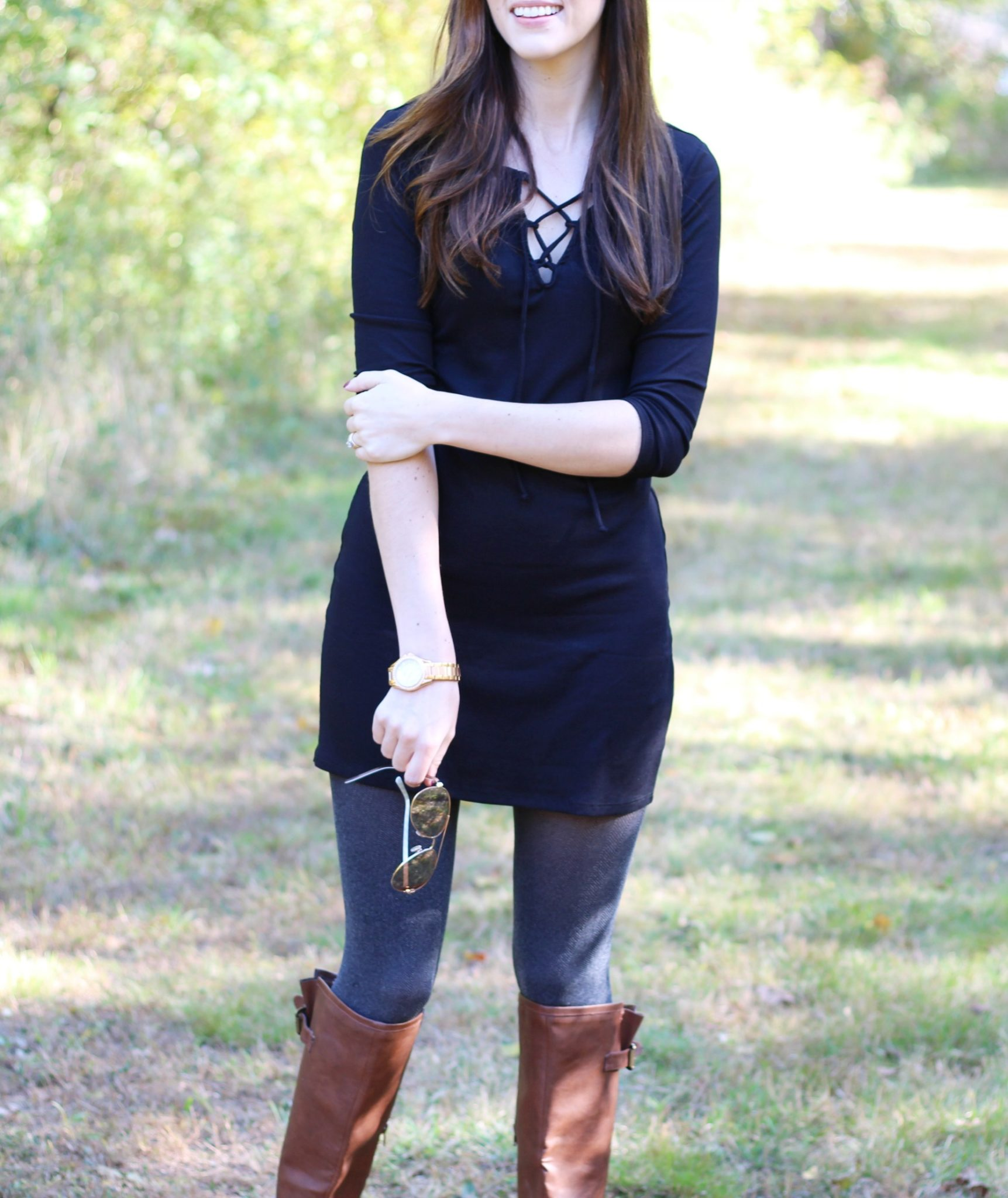 Fall Style Ribbed Lace Up Dress | Grey Tights Outfits | But First, Coffee blog