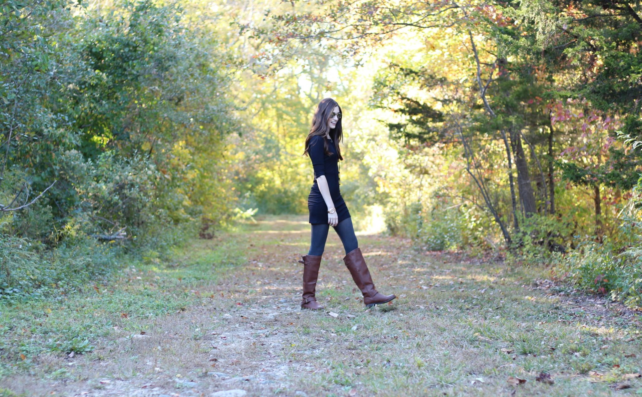 Fall Style Ribbed Lace Up Dress | Brown Leather Boots