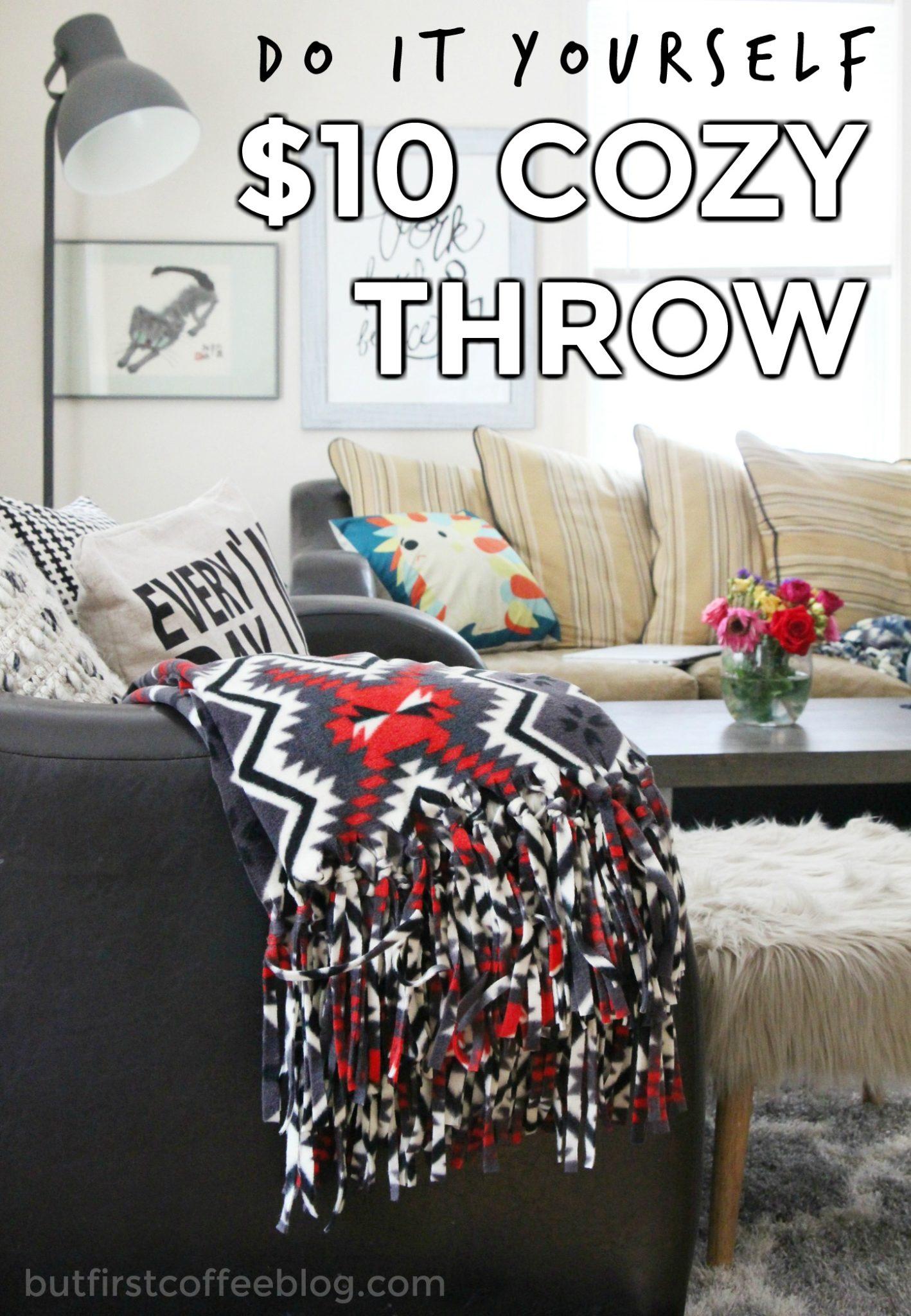 How to Make a Cozy, No Sew Fleece Throw Blanket Tutorial