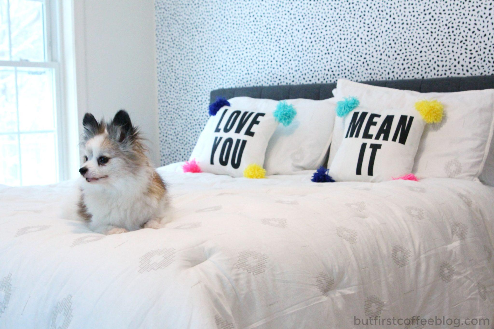 DIY Pom Pom Pillow with Text | No-Sew Pillowcase