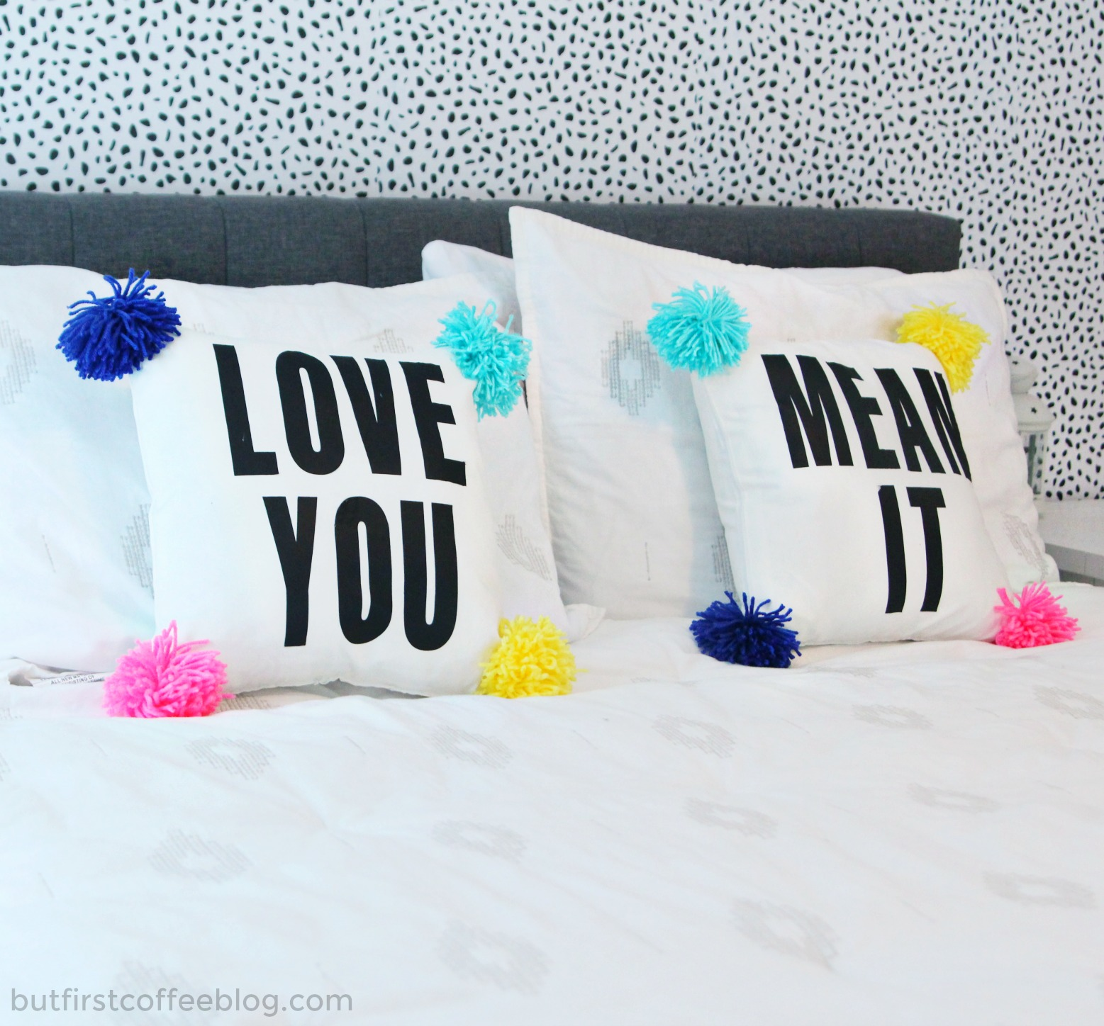 DIY Pillow For Couples | Love Your Mean It pompom pillow