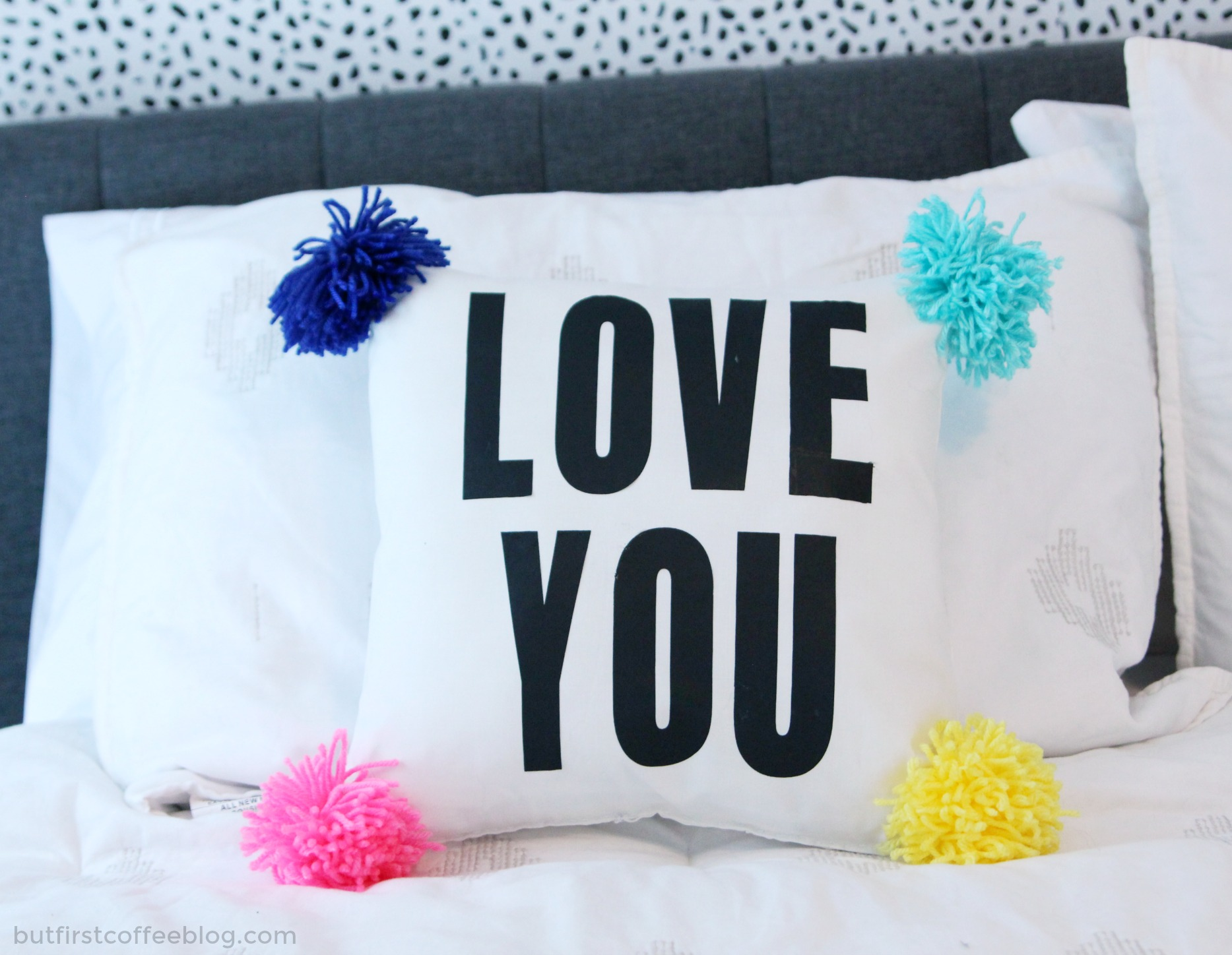DIY Pillow For Couples | Love You Pompom pillowcase