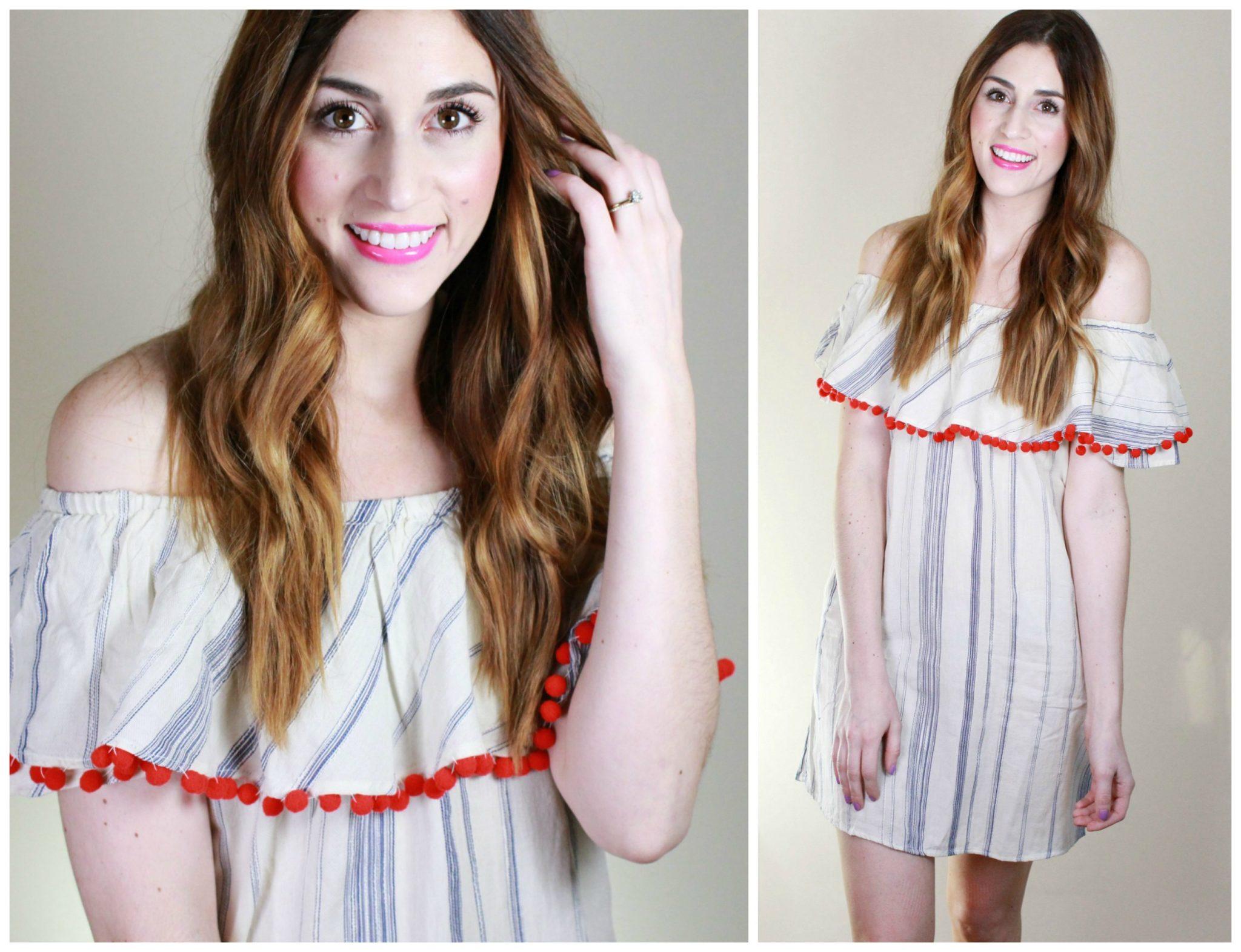 DIY Pom Pom Trim Dress   How to make a pompom trim