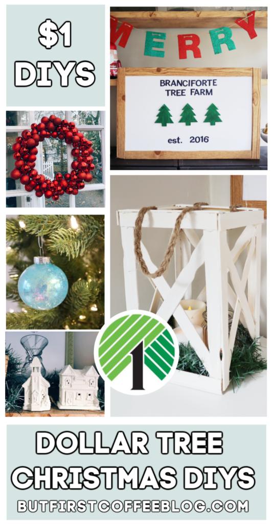 5 Dollar Tree Christmas DIYs | Dollar Tree Lantern, Christmas Bulb Wreath DIY, Glitter Bulbs, White Houses DIY, Dollar Tree Sign